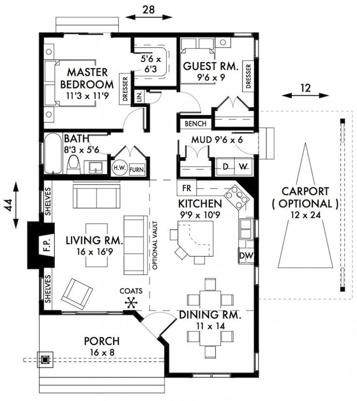 Exceptional House Plans With Mudroom #2: Stylish Two Bedroom House Plans To Realize: Awesome Two Bedroom House Plans  Cabin Cottage House Plans Floorplan With Small Bath And A Mudroom Also Open  ...