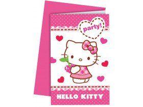 6 Cartes invitations + enveloppes Hello Kitty   Anniversaire thème hello kitty, Carte invitation ...