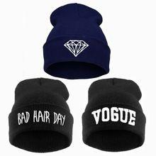 Fnito Sombrero Punto Skullies Gorros Bad Hair Day Bordado de Invierno Mujeres y Hombres Sombrero Soild Hiphop Gorras de Punto Gorras de Invierno Unisex Sombreros Casuales