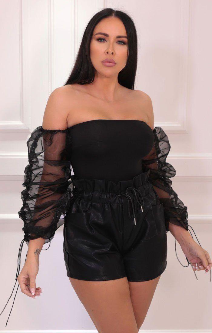 Black Organza Strapless Mesh Crop Top - Ciara #blackcroptops