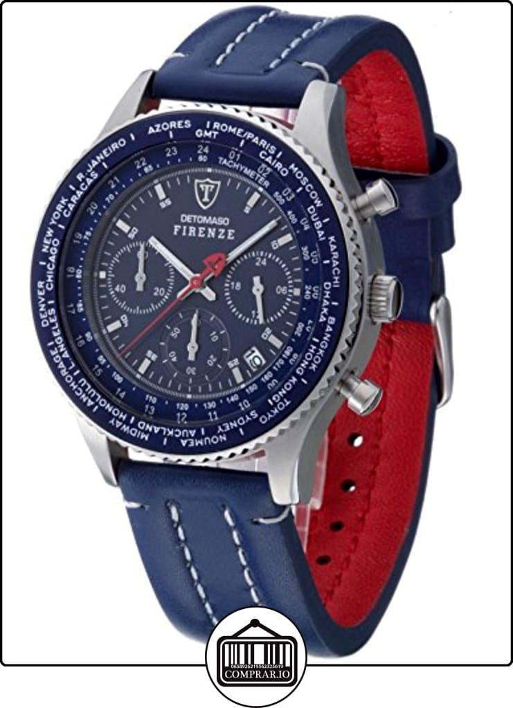Detomaso Firenze - Reloj de cuarzo para hombres, con correa de cuero de color azul, esfera azul de  ✿ Relojes para hombre - (Gama media/alta) ✿
