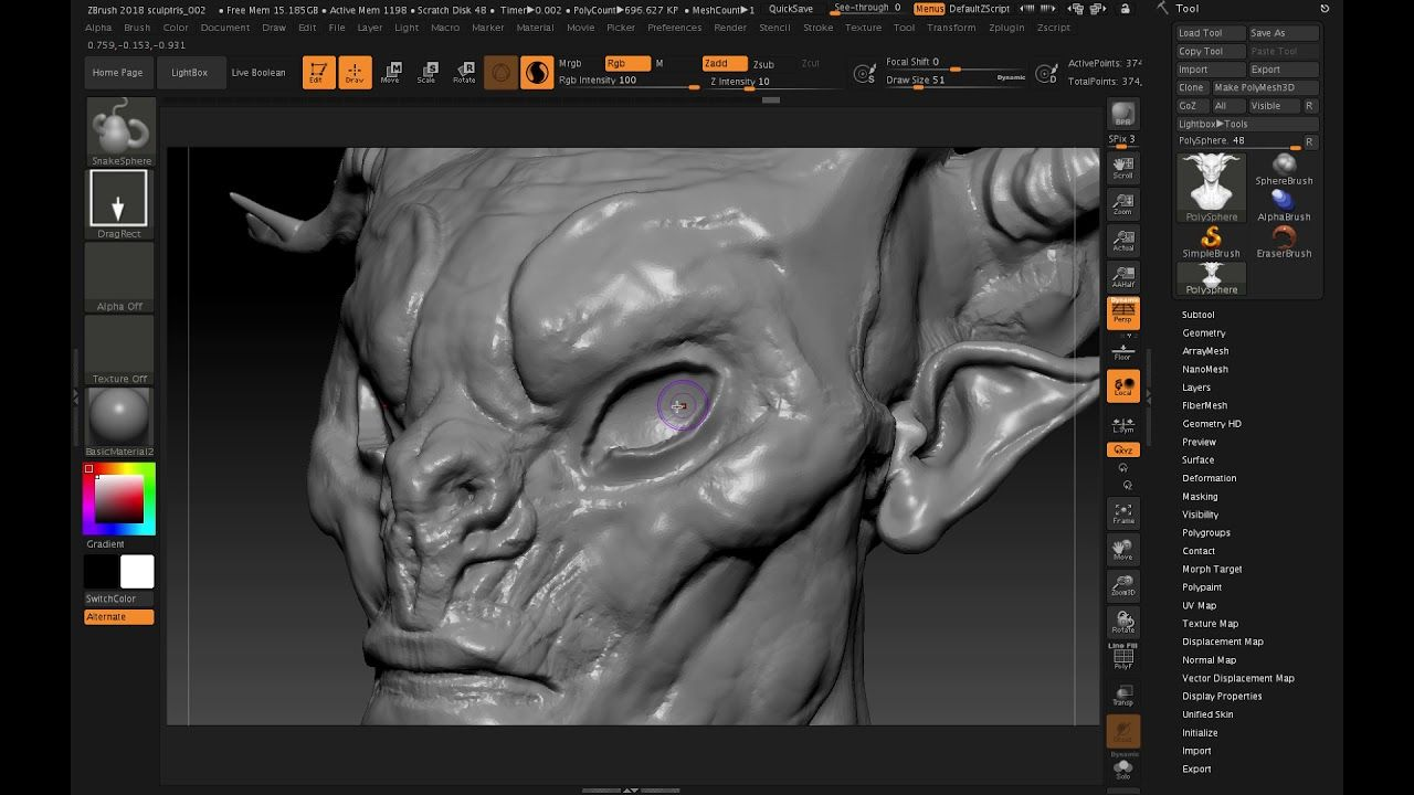 ZBrush 2018 Making eyes in Sculptris Pro | Tutorials and References