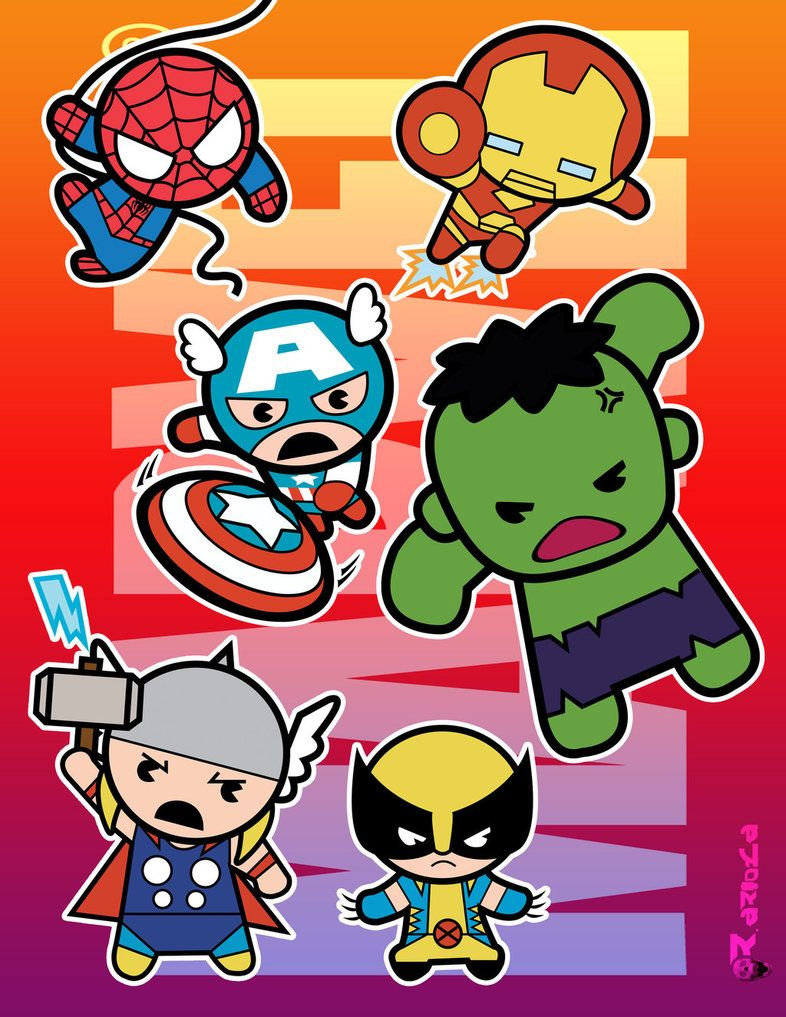 Super 4 Cartoon Characters : Chibi marvel baby super heroes by