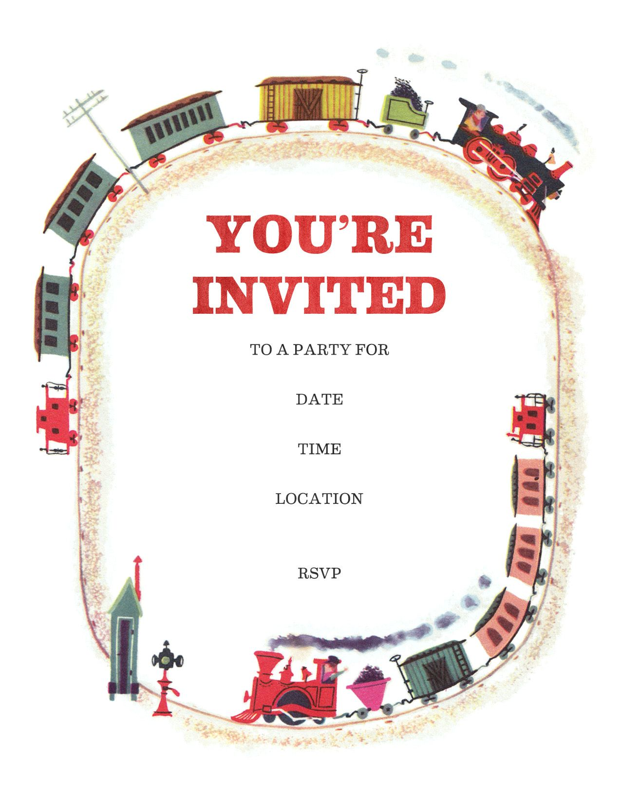Train Party Invitations Free Printable
