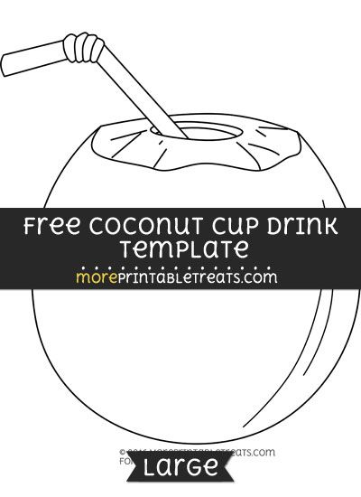 free coconut cup drink template large hawaiian luau party