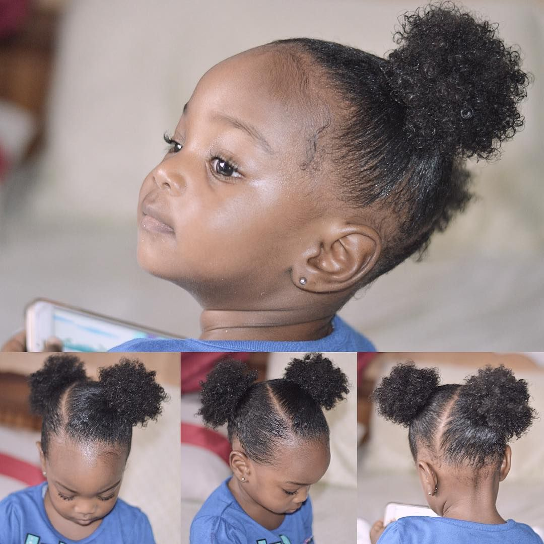 Slanted Puff This Was Our Sunday Church Style For Yesterday I Used Eco Styler Gel To Sleek Her Hair This Time Arou Kids Hairstyles Baby Hairstyles Hair Styles