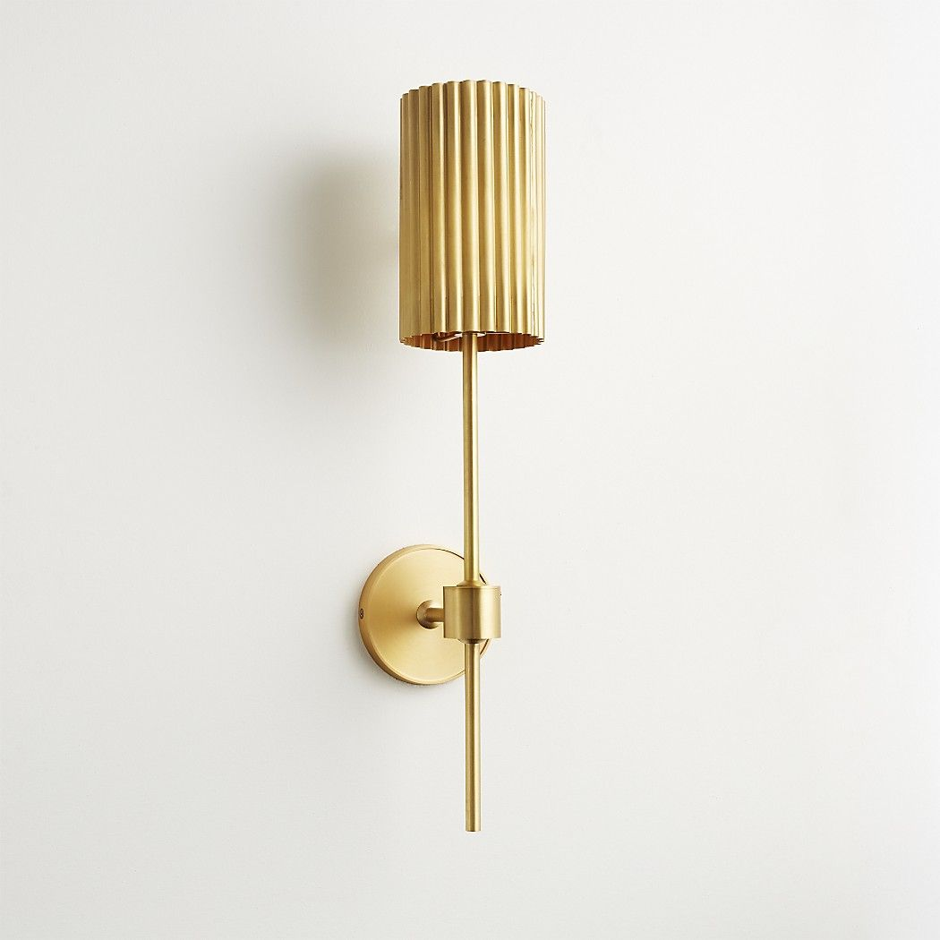 Fluted Gold Wall Sconce Reviews Cb2 Gold Wall Sconce Sconce Lighting Living Room Gold Wall Lights