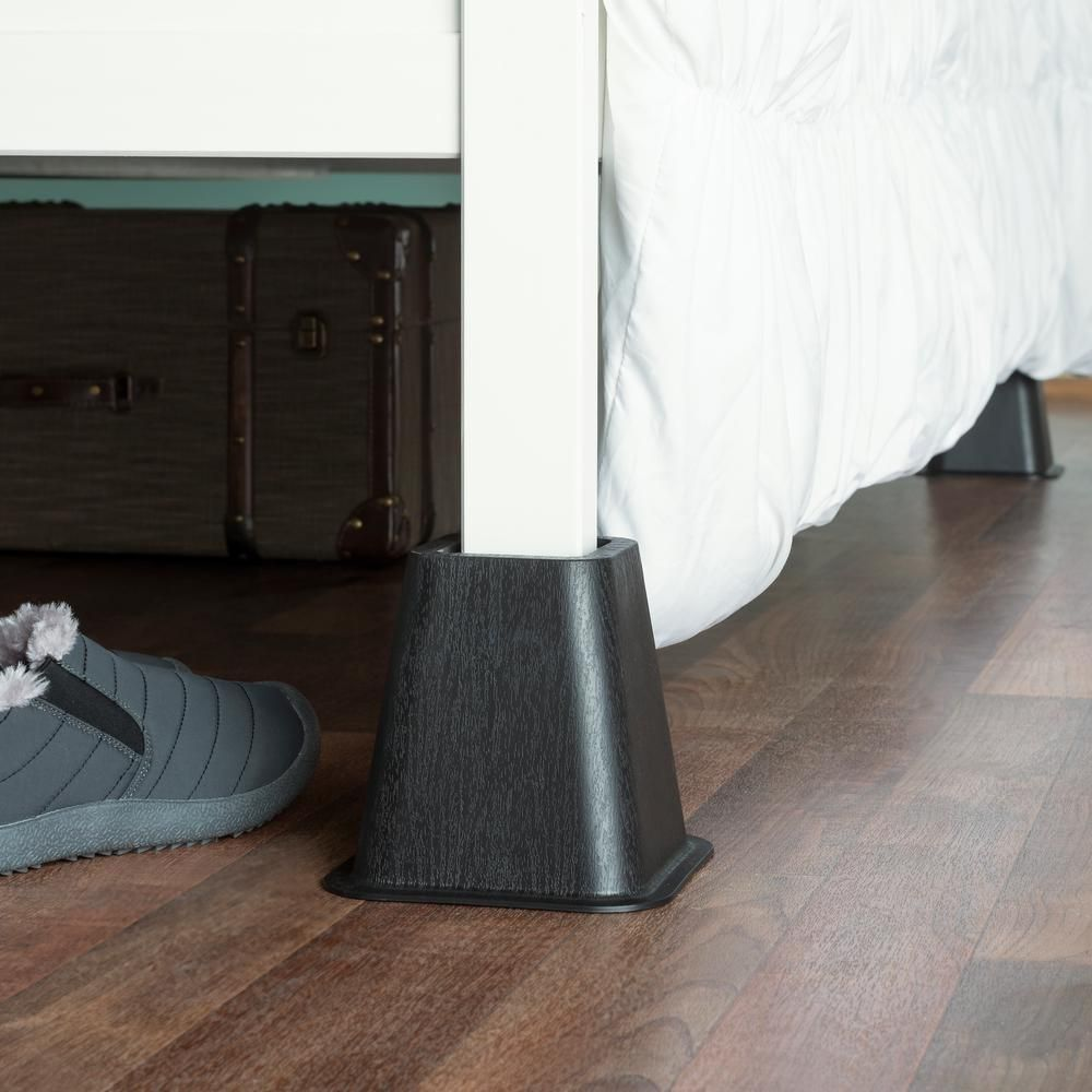 Sunbeam Black Plastic Bed Risers Set Of 4 Br10723 Bed Risers