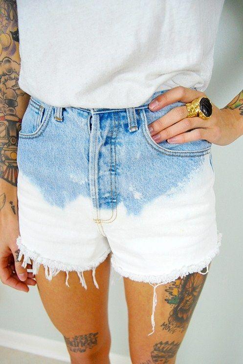 DIY bleach shorts | Indie style clothes, Fashion, Bleached