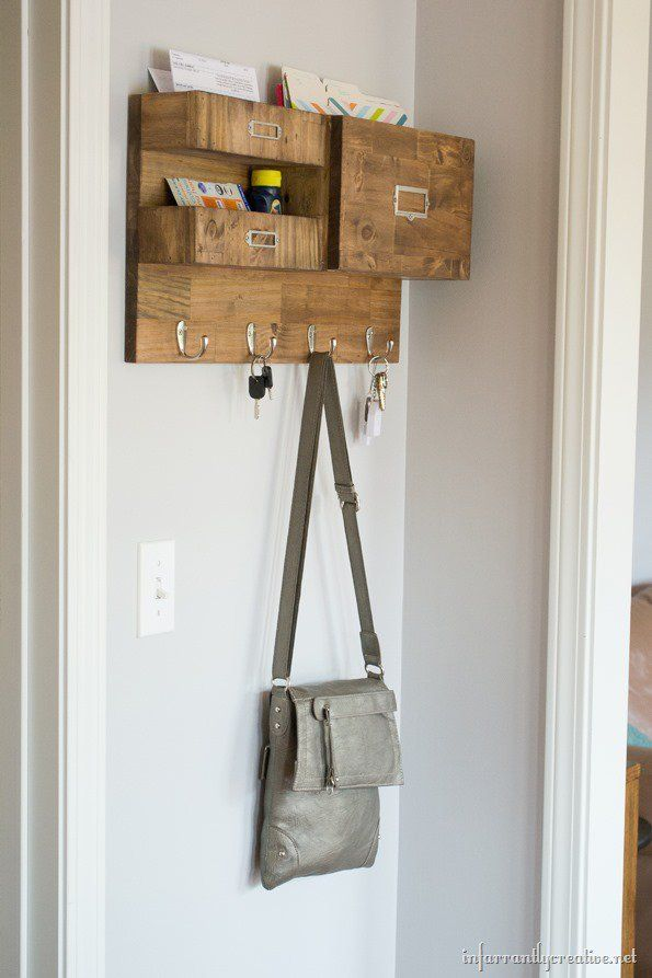 Wall Mail Organizer With Space For Keys Files And Bills Mail