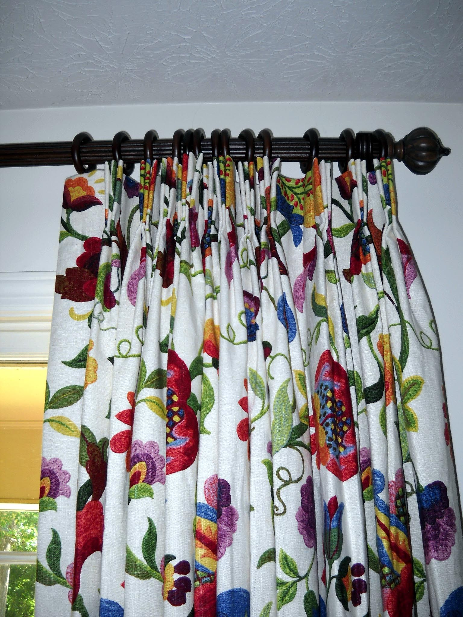 Vines and vibrant colors Linen Curtain,Drapes Custom made draperies Window panels Curtains Designer Fabric Custom curtains Green Blue
