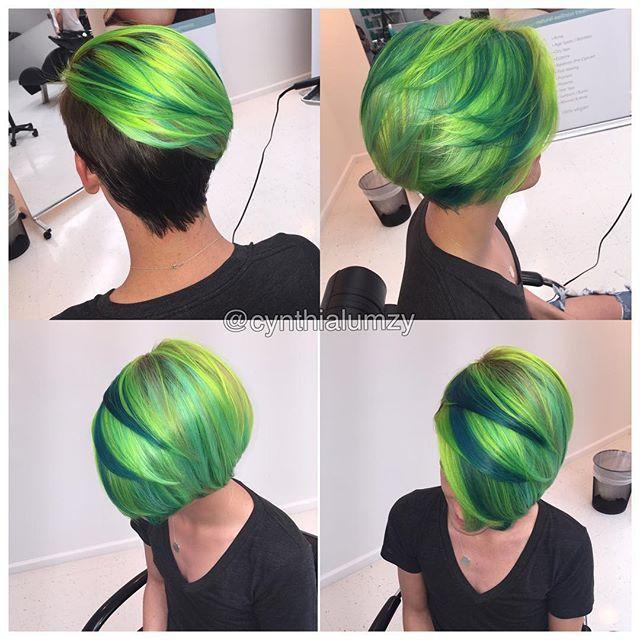 Pin On Green Hair Nails And Makeup