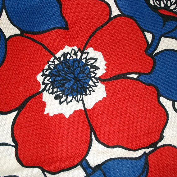 70s Mod FLORAL Upholstery Fabric Red White Blue by SelvedgeShop ...