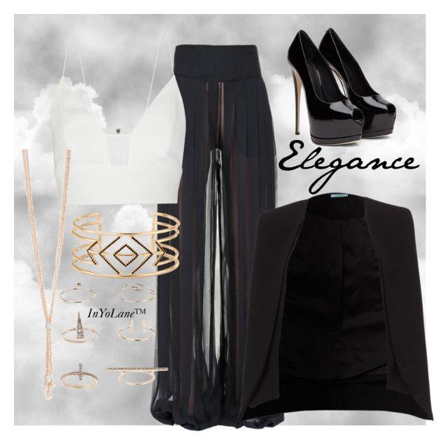 """Black-in-White Elegance"" by makai-makky-mawunganidze on Polyvore featuring Balmain, Narciso Rodriguez, Stella & Dot and Topshop"