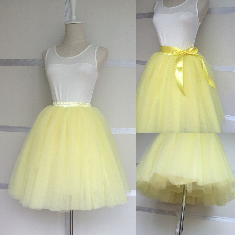 Light Yellow 8 Layers Puffy Tulle Skirts For Women Princess Tutu Adult Short Length 50cm Elastic