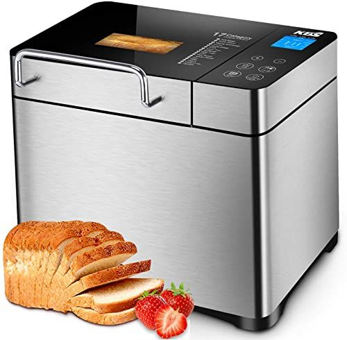 New KBS Pro Stainless Steel Bread Machine, 2LB 17-in-1 Programmable XL Bread Maker Fruit Nut Dispenser, Nonstick Ceramic Pan& Digital Touch Panel, 3 Loaf Sizes 3 Crust Colors, Reserve& Keep Warm Set online - Prettytrendyfashion