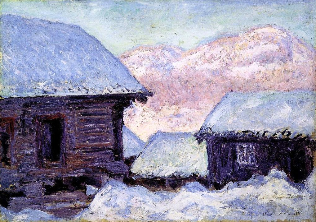 1895 Claude Monet Case Nella Neve E Monte Kolsaas Claude Monet Monet Paintings Claude Monet Paintings