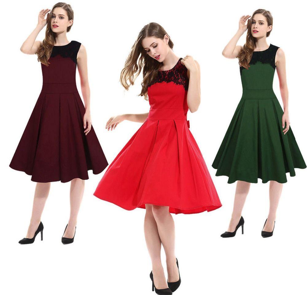 Frauen sommer elegante Vintage sleeveless spitze büro damen ...