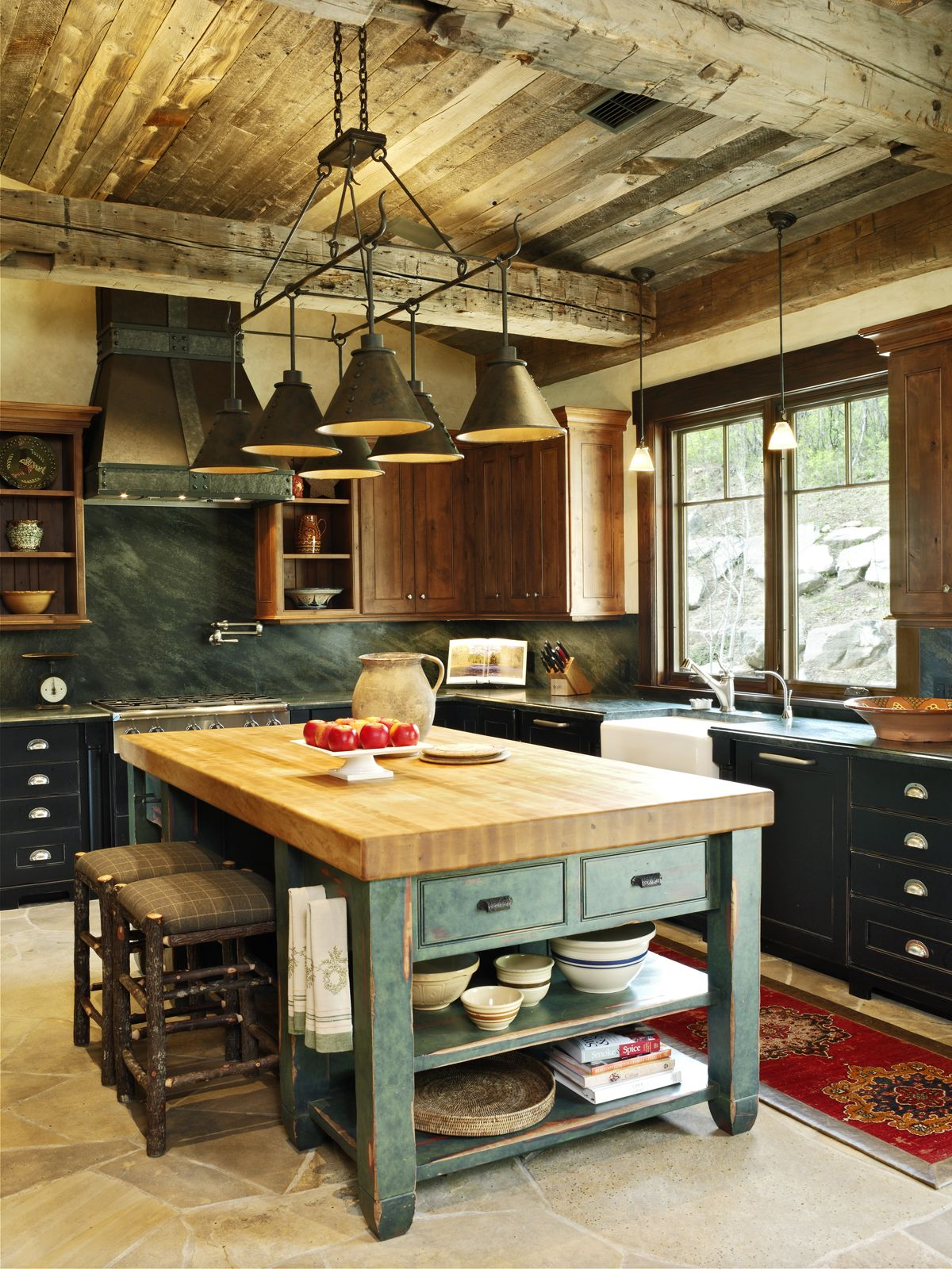 Kitchen rustic kitchen kitchen island butcher block island rustic chandelier kitchen lighting kitchen island lighting wood beams wood ceiling