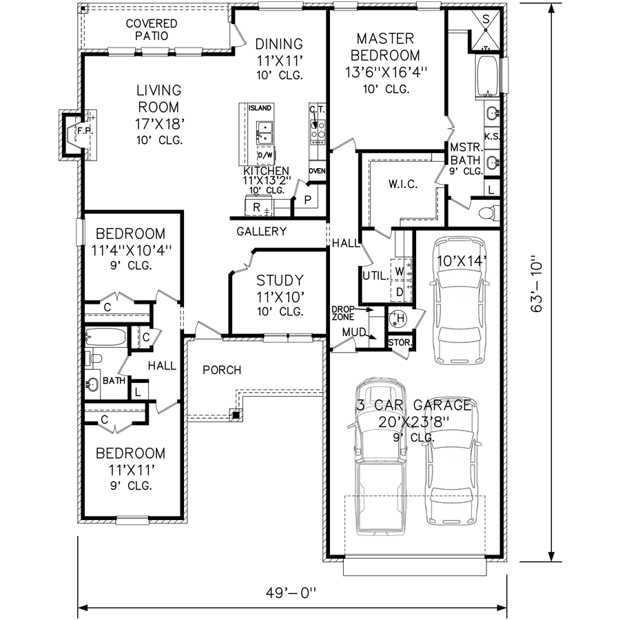 Perry House Plans Floor Plan # 6410-2 (C) 2017   Cabin plans ...