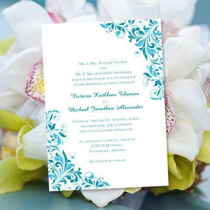 Wedding Invitation Template Flourish Malibu Blue Oasis – Word Document Invitation Template
