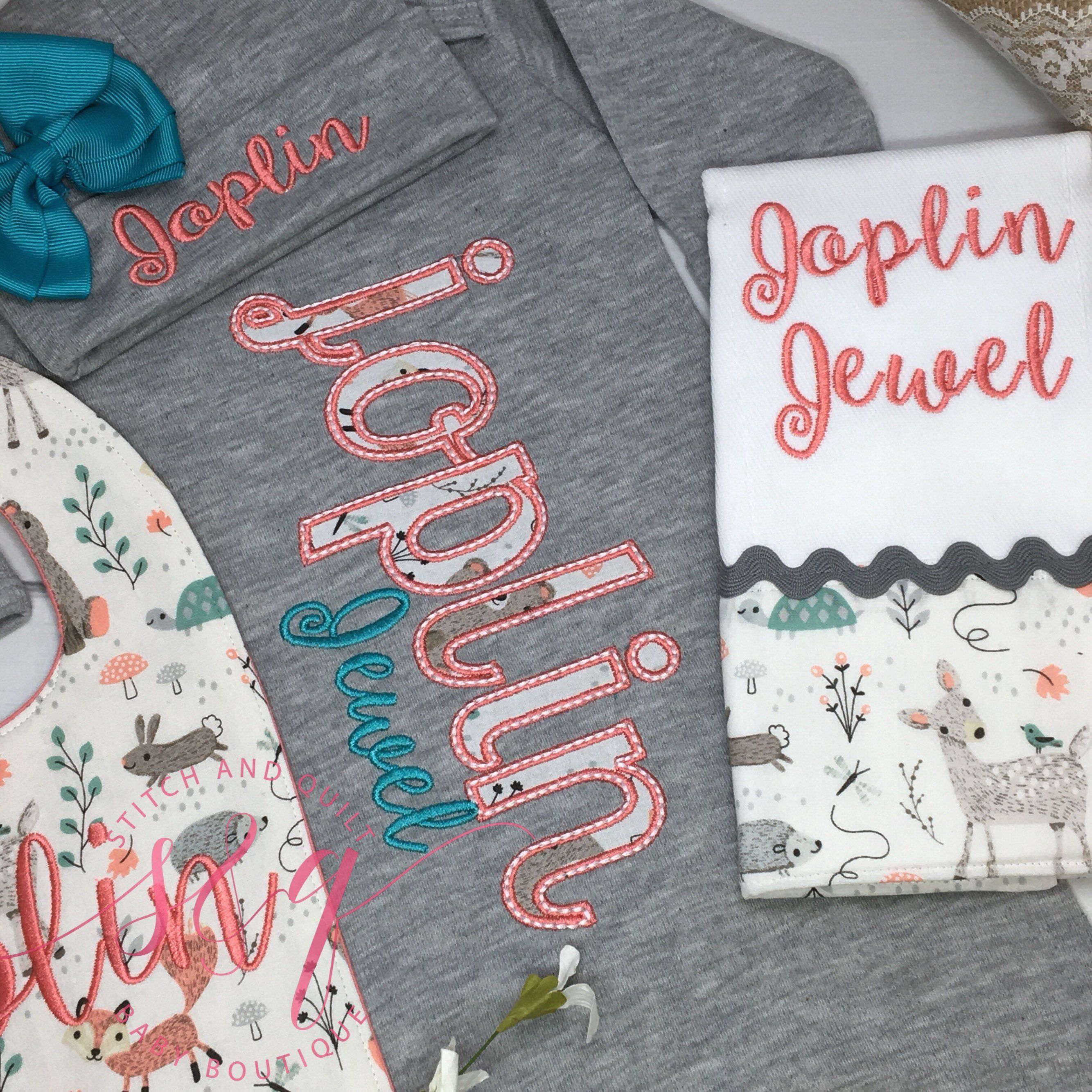Coral and Teal Take Home Outfit, Going Home Outfit, Newborn Outfit, Newborn Dress, Baby Shower Gift, baby girl coming home outfit
