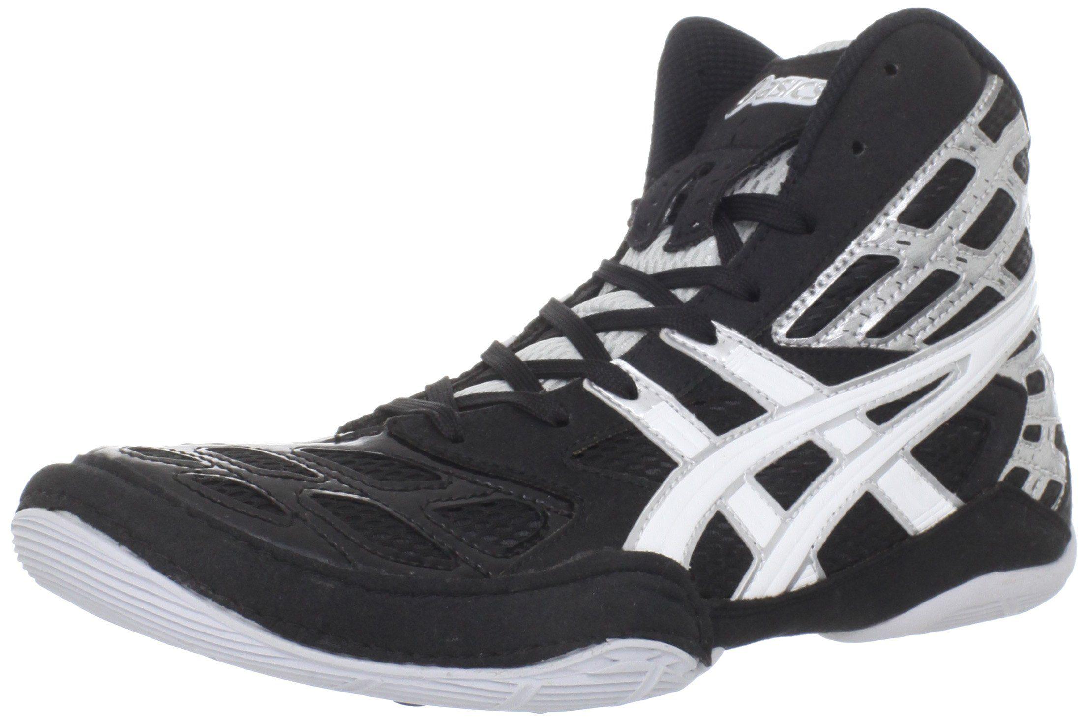 ASICS Men's Split Second 9 Wrestling Shoe,Black/White/Silver,5 M
