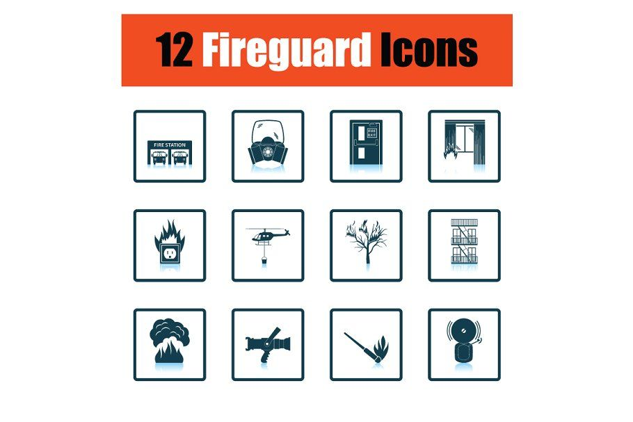 Set Of Fire Service Icons Icon Fire Service Business Card Logo