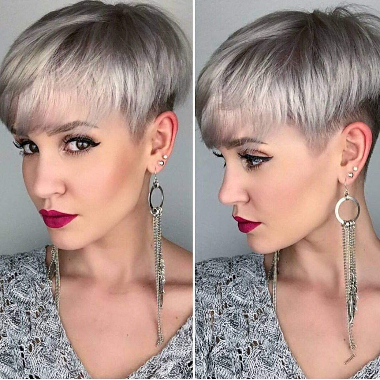Silver platinum blonde hair color and perfect pixie haircut by