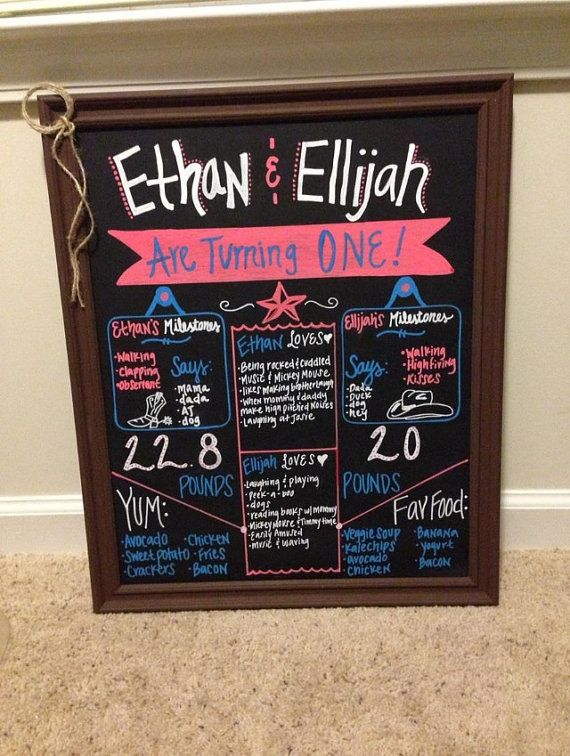 First birthday chalkboard frame for twins western theme on Etsy ...