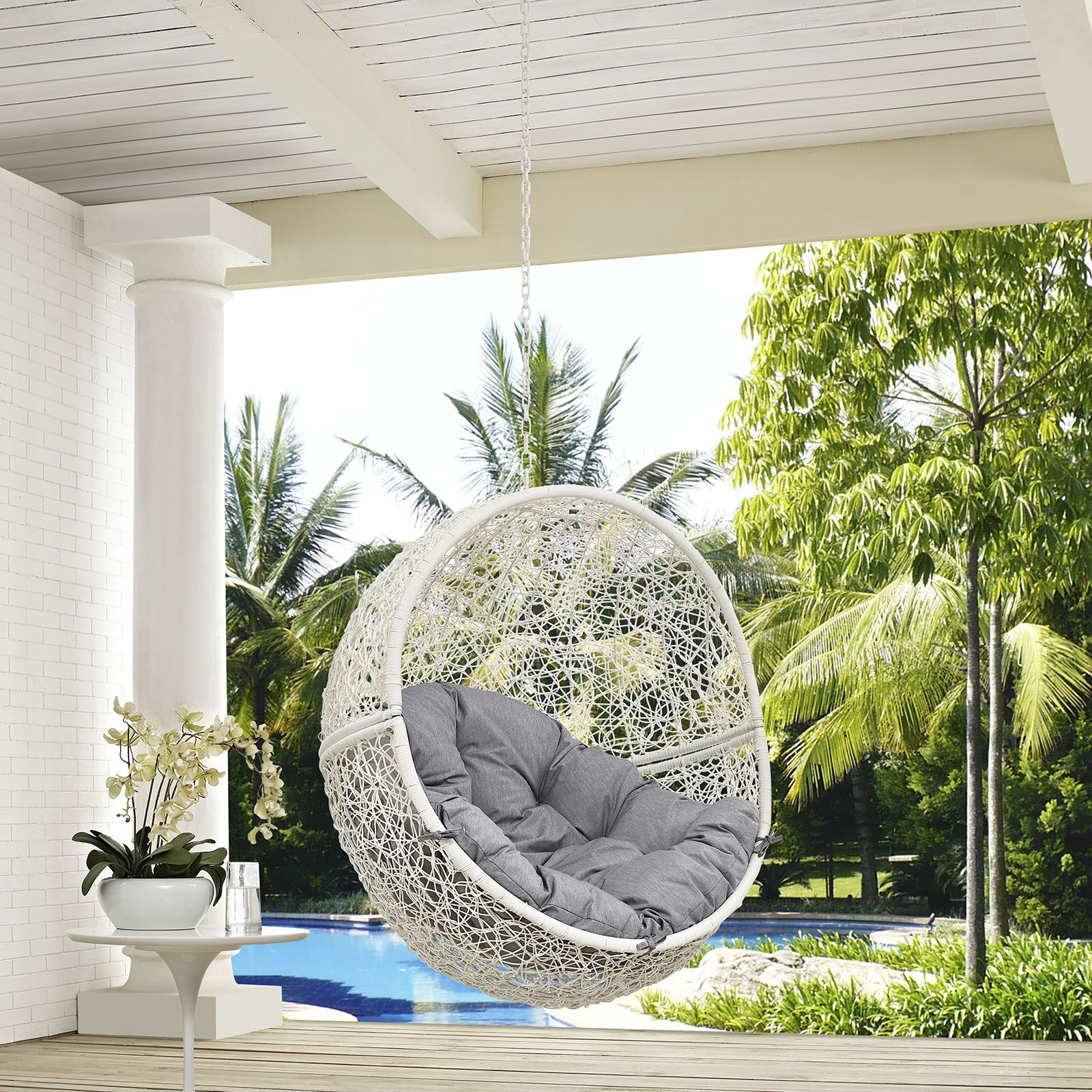 hide outdoor patio swing chair with stand white gray escape to an