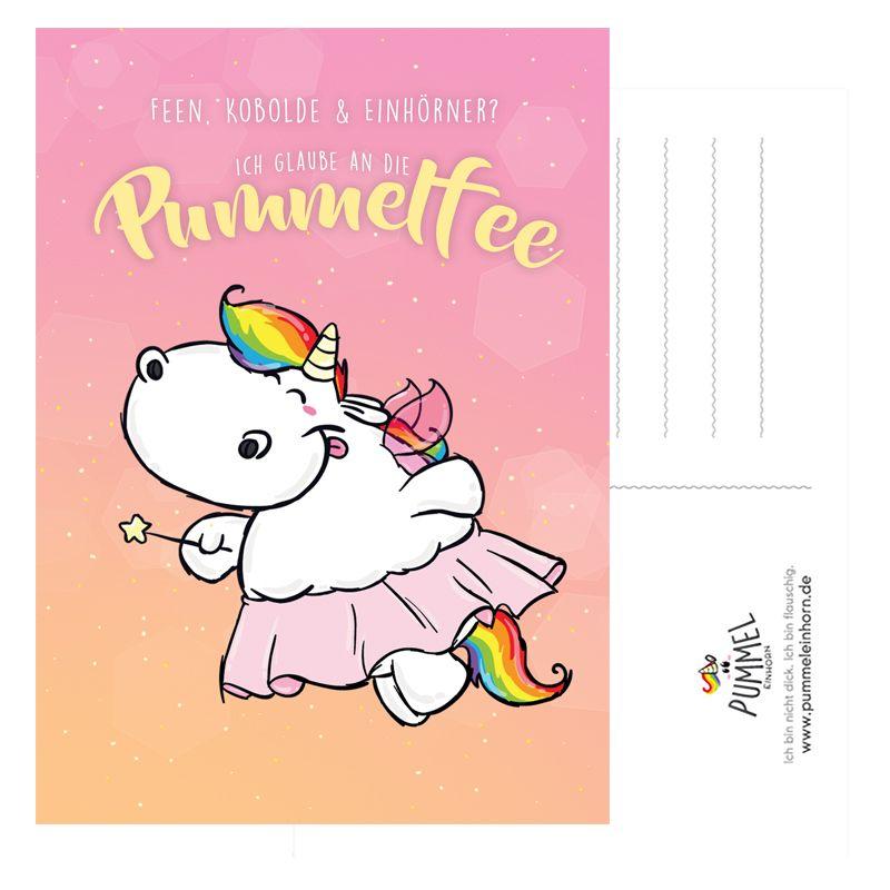 pummeleinhorn postkarte pummelfee  pummeleinhorn