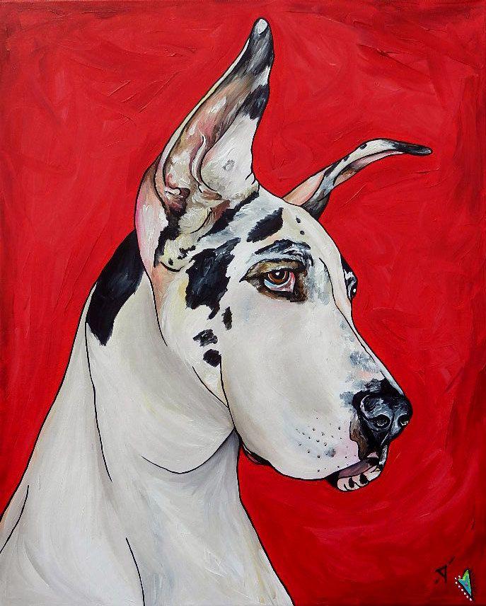 4b8ca09e7ea9 Great Dane Custom Dog Painting 24 x 30 | DOG ORIGINAL ART | Dog ...