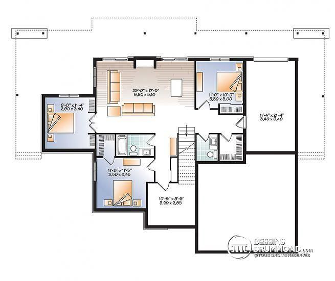 W3967 - Plan de maison style chalet moderne rustique, 4 chambres - plan maison une chambre