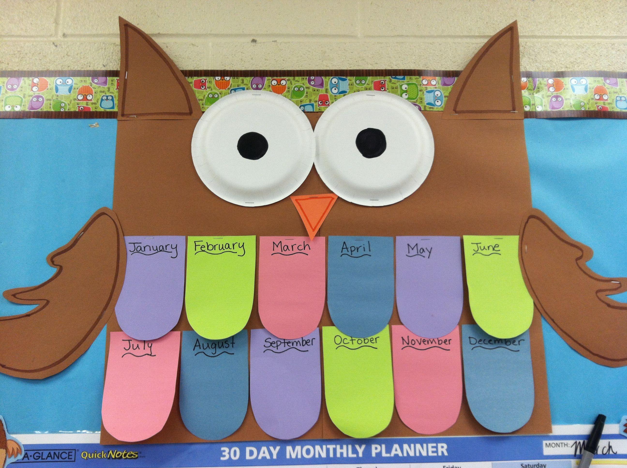Owl Birthday Chart 4 Kindy