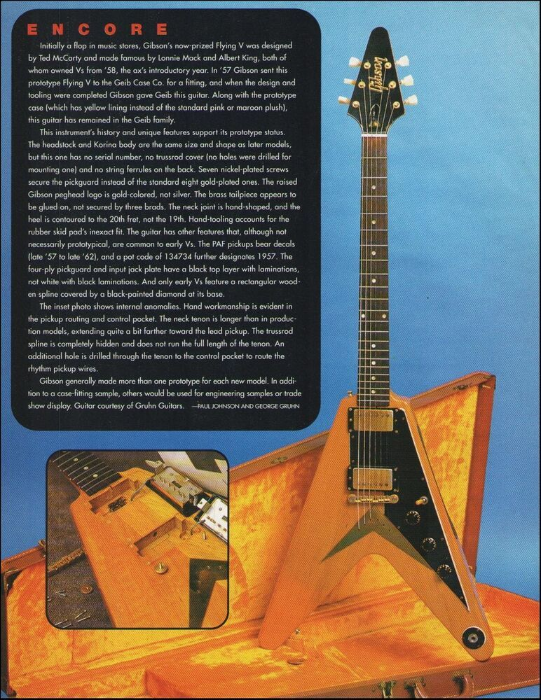 The 1957-58 Gibson Flying V classic vintage guitar 1996 full page article print #Gibson #vintageguitars