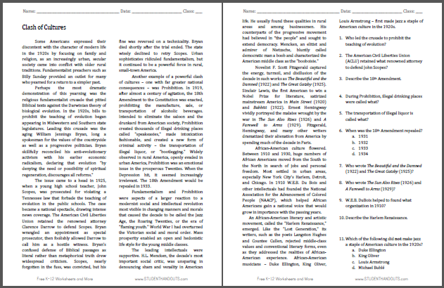 Clash of Cultures Prohibition Scopes Trial Harlem Renaissance – Prohibition Worksheet