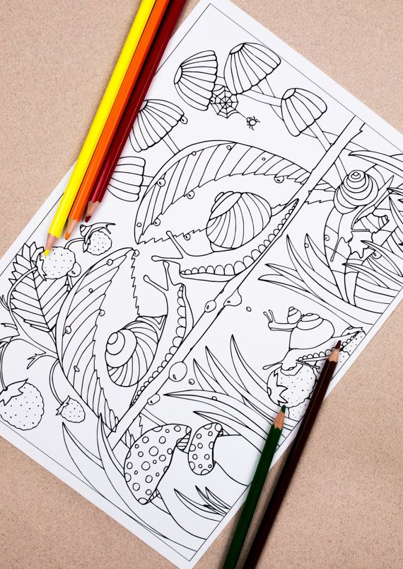 Snails Colouring Page, Coloring pages, Adult colouring book, Forest colouring, Landscape coloring, Downloadable, Printable coloring pages