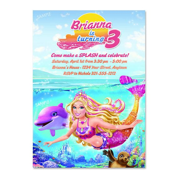 Barbie Mermaid Tale Invitation For Birthday By Poshberryparties