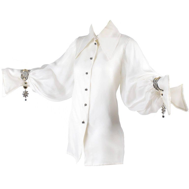 8a8c3e31902f6d Christian Dior Beaded Silk Organza Numbered Blouse With Jewel Cufflinks,  1980s