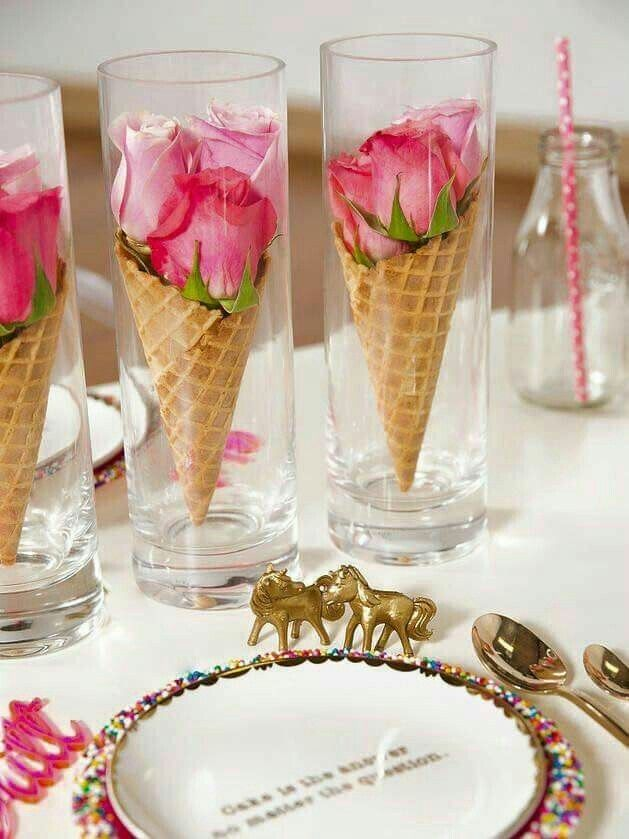 Roses In Waffle Cones That Are Carefully Placed In Tall Glasses To Create  Whimsical, Eye Catching Table Decor.