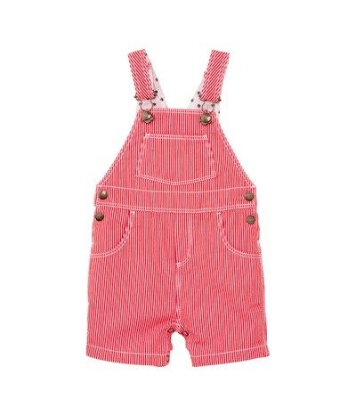 b6e873202c41 Baby boy short cotton cloth dungarees with stripes Brulant red ...