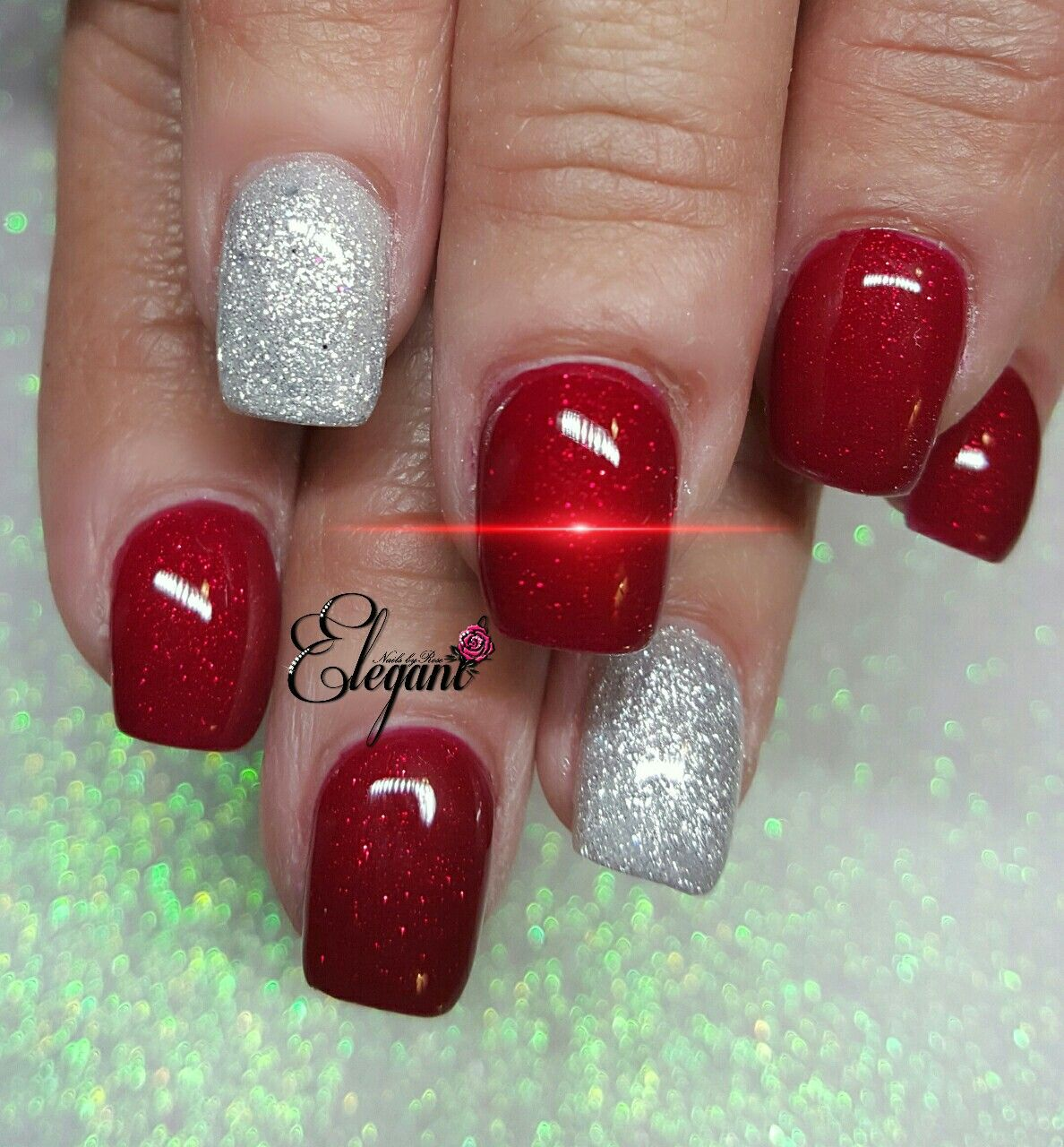 Red and silver holiday nails | Elegant Nails by Rose | Pinterest