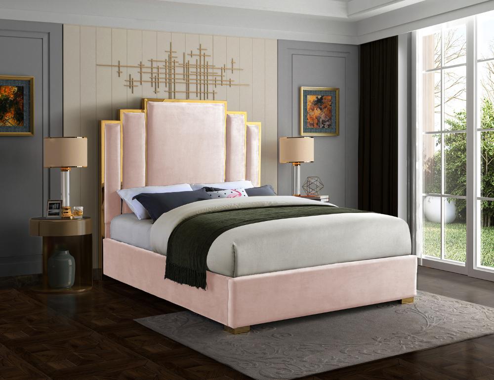 Meridian Furniture Hugo Pink Velvet Queen Bed HugoPinkQ