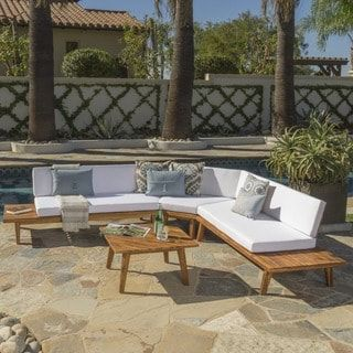 Hillcrest Outdoor 4 Piece V Shaped Wood Sectional Sofa Set With Cushion By Christopher Knight Home Pati Yo Pinterest Bed Furniture And