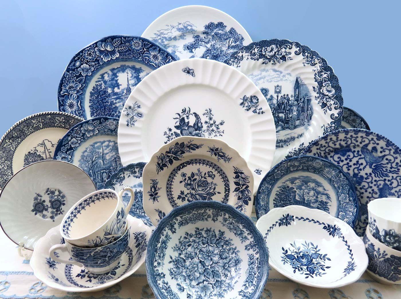 20 Piece Vintage Mismatched Blue White Ironstone China