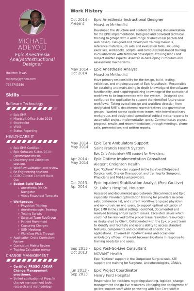 Epic Anesthesia Instructional Designer Resume Example ID