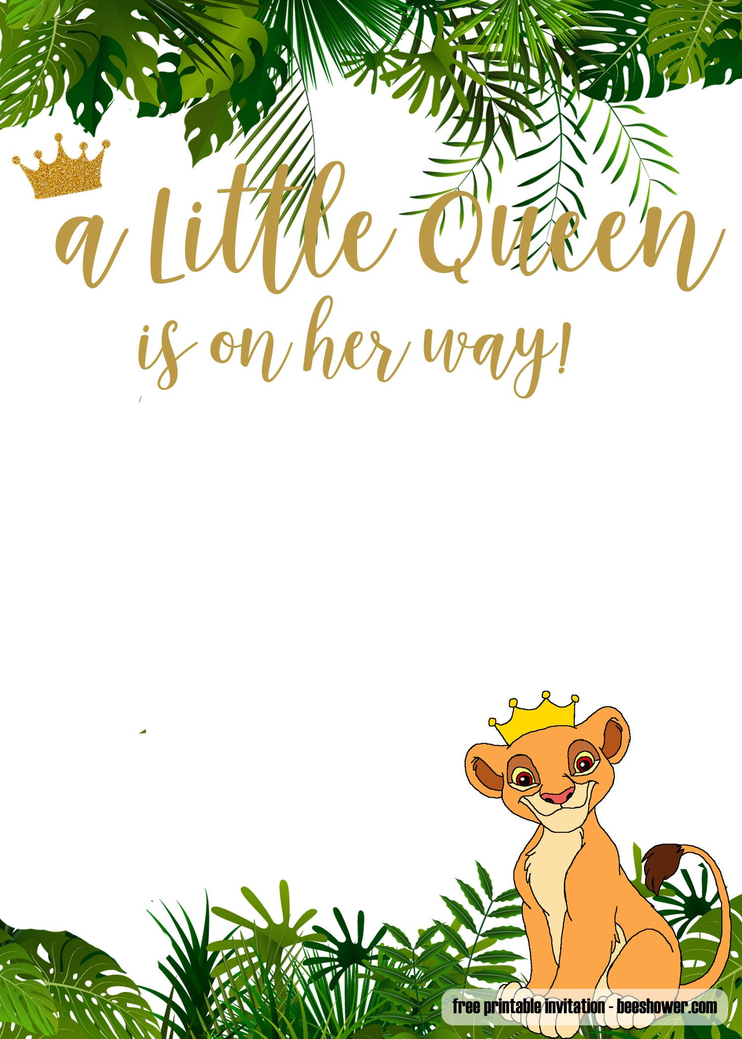 Free Printable Lion King Baby Shower Invitations Free