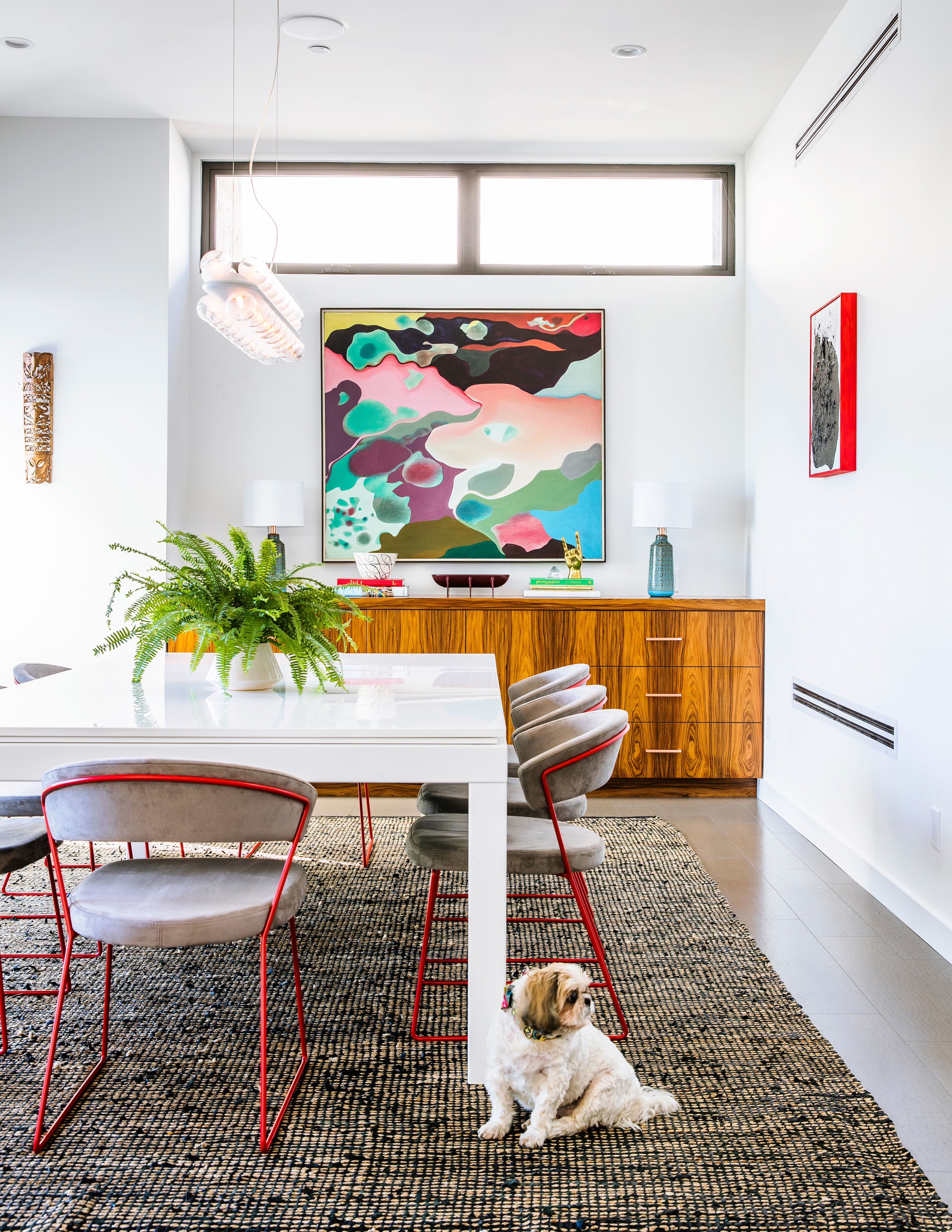 Choose A Statement Piece Use Art Like This 1970s Abstract Painting To Create Palette White Dining And Pool Table Fusiontables For Retailers