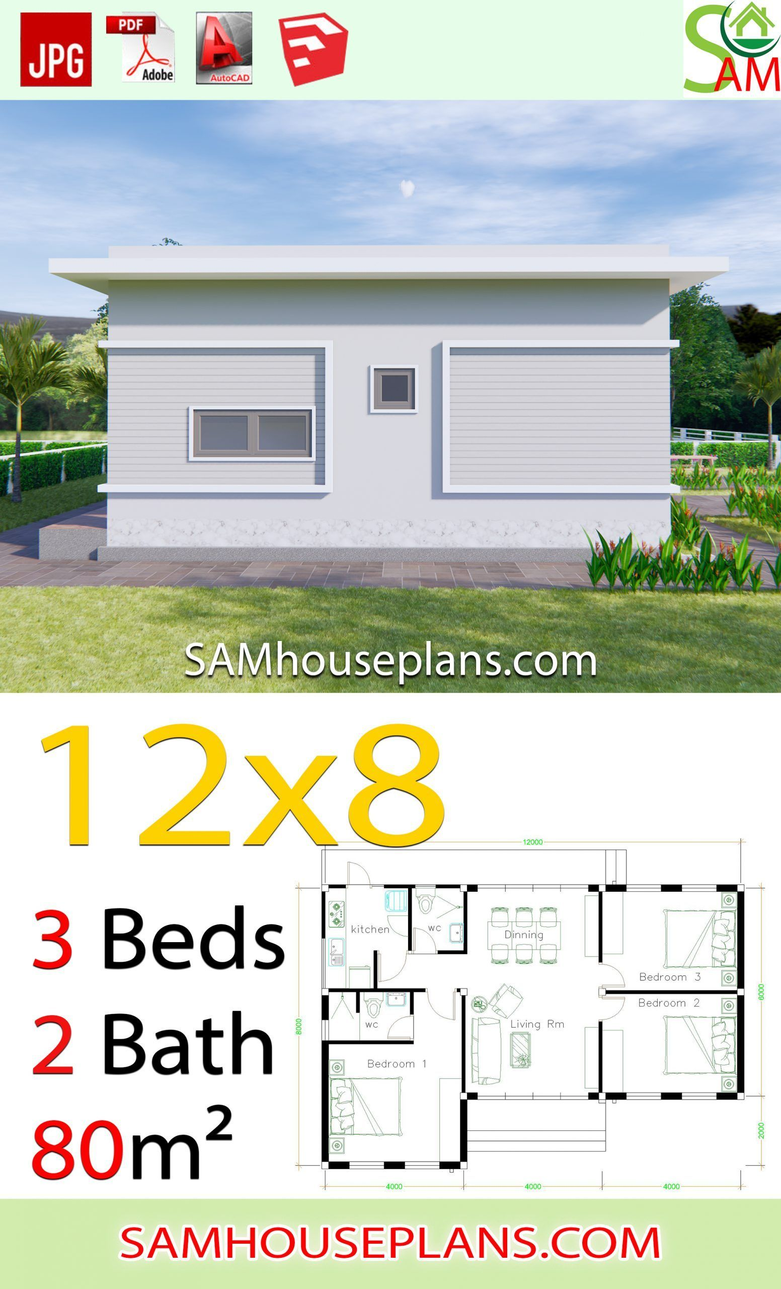 House Plans 12x8 With 3 Bedrooms Terrace Roof Sam House Plans House Plans House Roof My House Plans
